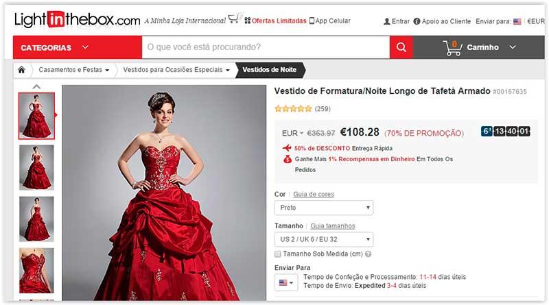 Lightinthebox vestidos da China