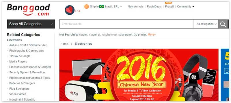 banggood melhores sites da china