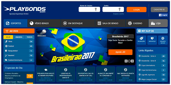 homepage do site de apostas Playbonds